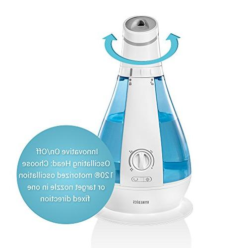 Cool Oscillating Humidifier | 120-Degree Rotation, 1 Gallon Hour Clean Tank DEMINERALIZATION