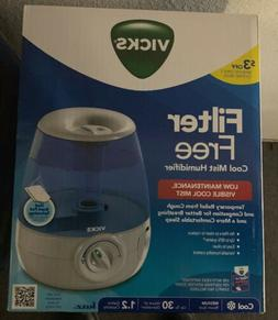 NEW Vicks Filter Free 1.2 Gallon Cool Mist Humidifier Scent
